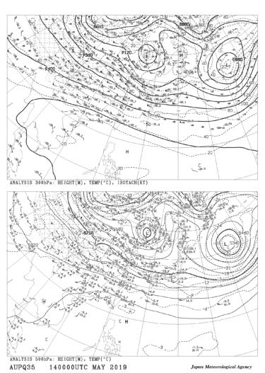 【AUPQ35】アジア500hPa 300hPa解析図の見方