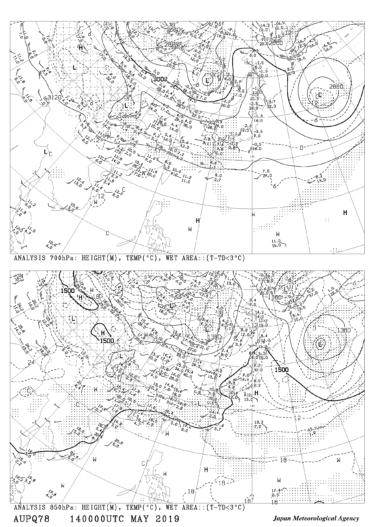 【AUPQ78】アジア850hPa 700hPa解析図の見方