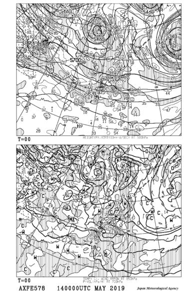 【AXFE578】極東850hPa気温・風、700hPa上昇流、500hPa高度・渦度図の見方