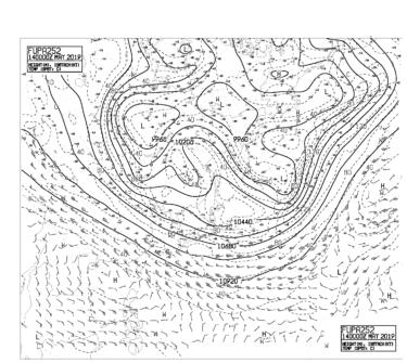 【FUPA252】アジア太平洋250hPa高度・気温・風24時間予想図の見方