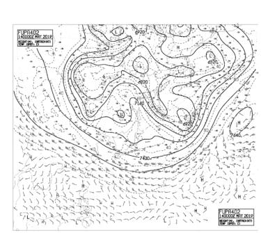 【FUPA402】アジア太平洋400hPa高度・気温・風24時間予想図の見方
