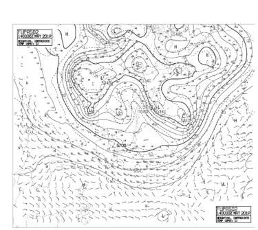 【FUPA502】アジア太平洋500hPa高度・気温・風24時間予想図の見方