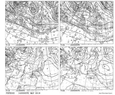 【FXFE502】極東地上気圧・風・降水量/500hPa高度・渦度予想図12・24時間予想の見方