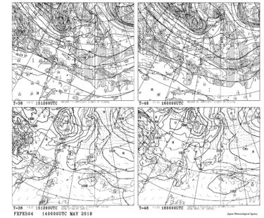 【FXFE504】極東地上気圧・風・降水量/500hPa高度・渦度予想図36・48時間予想の見方