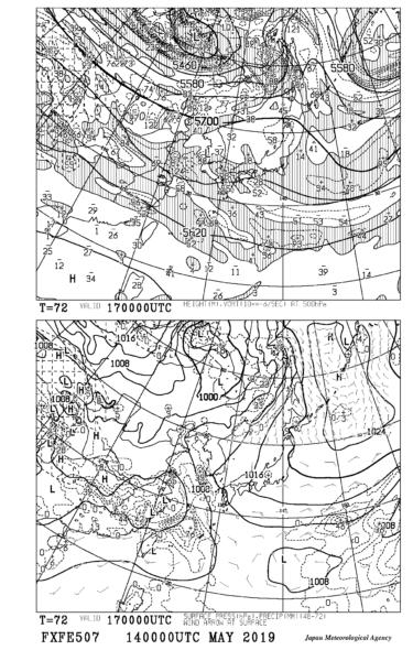 【FXFE507】極東地上気圧・風・降水量/500hPa高度・渦度予想図72時間予想の見方