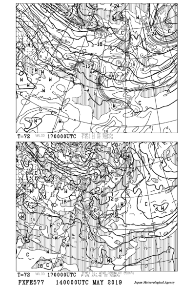 【FXFE577】極東850hPa気温・風、700hPa上昇流/700hPa湿数、500hPa気温予想図72時間予想の見方