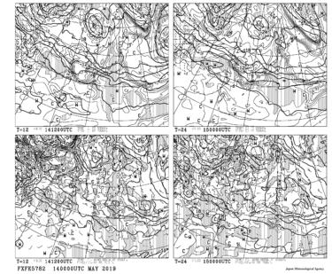 【FXFE5782】極東850hPa気温・風、700hPa上昇流/700hPa湿数、500hPa気温予想図12・24時間予想の見方