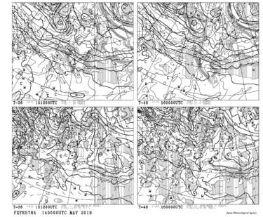 【FXFE5784】極東850hPa気温・風、700hPa上昇流/700hPa湿数、500hPa気温予想図36・48時間予想の見方