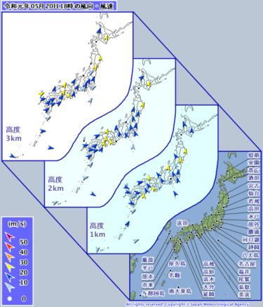 【天気図】ウィンドプロファイラ(上空の風)の見方