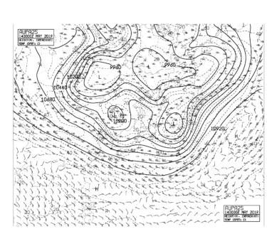 【AUPA25】アジア太平洋250hPa高度・気温・風天気図の見方