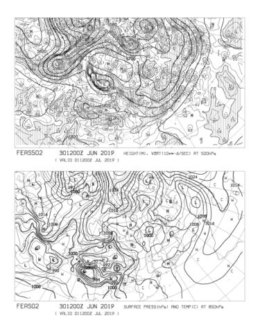 【FEAS502】アジア地上気圧 850hPa気温 500hPa高度・渦度 24時間予想の見方