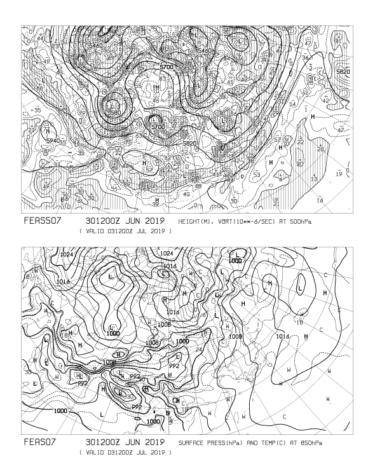 【FEAS507】アジア地上気圧 850hPa気温 500hPa高度・渦度 72時間予想の見方