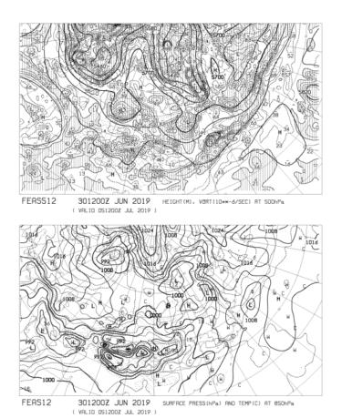 【FEAS512】アジア地上気圧 850hPa気温 500hPa高度・渦度 120時間予想の見方