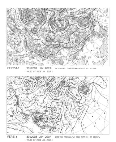 【FEAS516】アジア地上気圧 850hPa気温 500hPa高度・渦度 168時間予想の見方