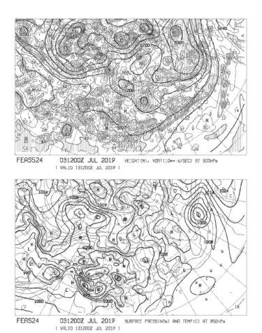 【FEAS524】アジア地上気圧 850hPa気温 500hPa高度・渦度 240時間予想の見方