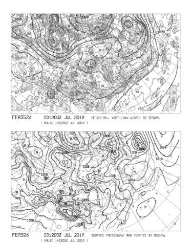 【FEAS526】アジア地上気圧 850hPa気温 500hPa高度・渦度 264時間予想の見方