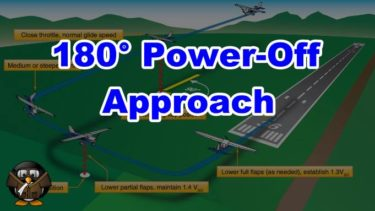 【飛行機の着陸】180° Power-Off Approach